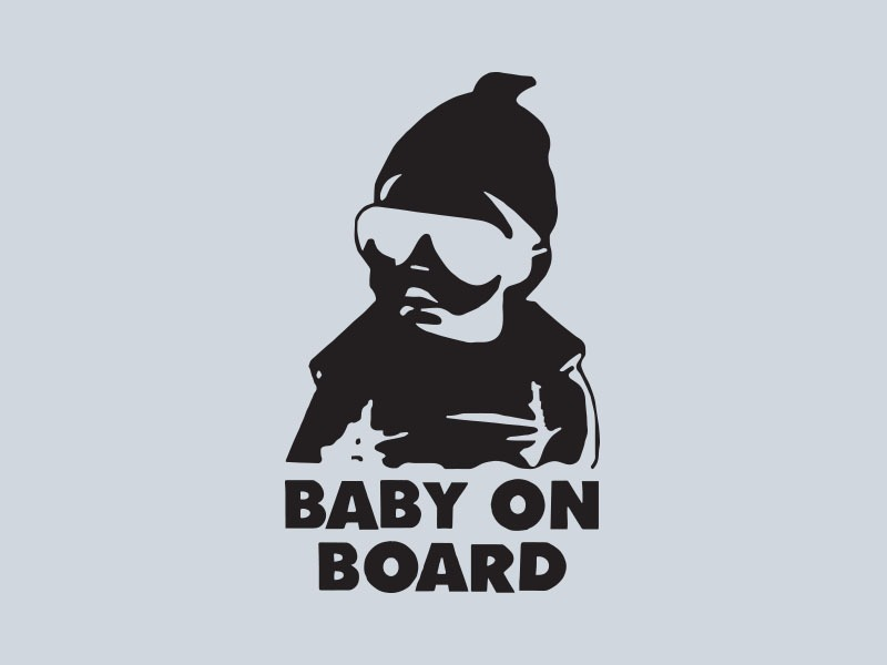 hoodie baby on board car sticker