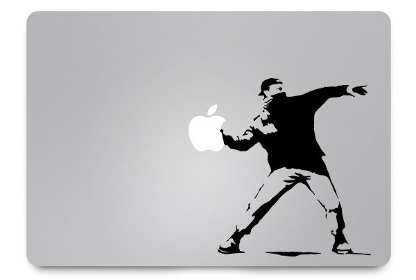 banksy macbook sticker
