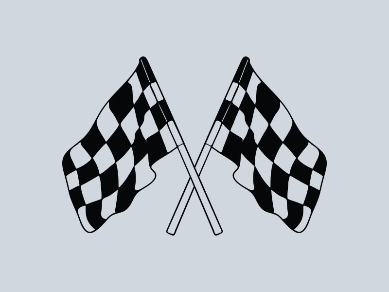 chequered flag rally car stickers