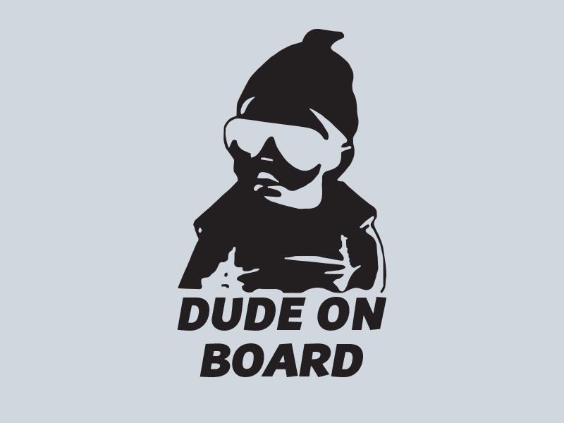 dude on board car stickers