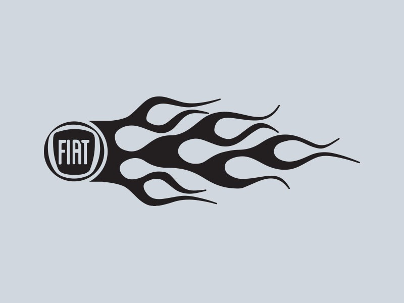 fiat logo flames car stickers