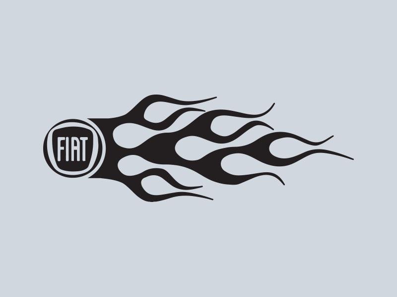 fiat logo flames car stickers