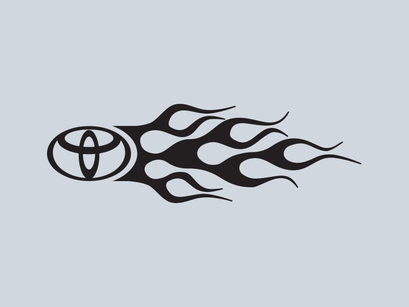 toyota logo flames car stickers